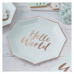 8 pratos Menta Hello World