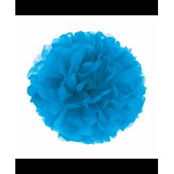 decoração de papel pompom azul