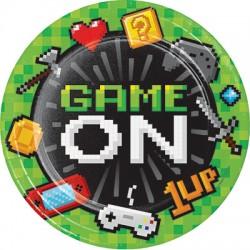 8 Pratos Gaming Party 23cm