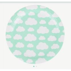 8 pratos nuvens 23cm