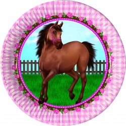 8 Pratos 23cm Lovely Horse