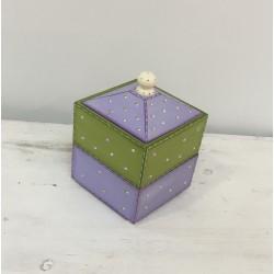 Caixa madeira verde e lilás...