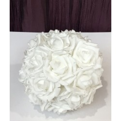 Pompom de flores branco m...