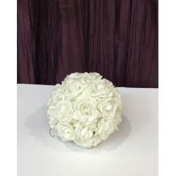Pompom de flores branco s...