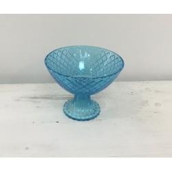 Taça azul vidro com pé 15...