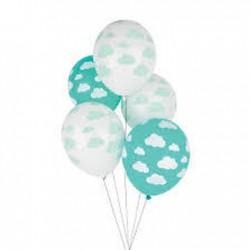 5 balões latex nuvens
