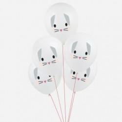 5 baloes impressos coelhiinho