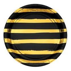 8 Pratos 22.2cm Black&Gold...