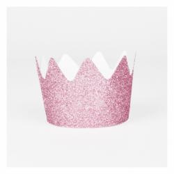 8 mini coroas Glitter Rosa