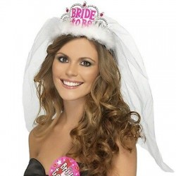 Tiara com Véu Bride To Be -...