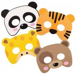 4 máscaras de papel animais...