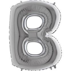 """Balão foil letra B 40"""" prata"""