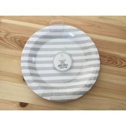 6 pratos riscas prata 23 cm