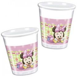 8 copos plático Baby Minnie