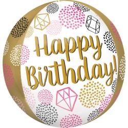 Balão Happy Birthday orbz-38cm