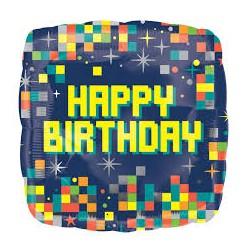 Balão Happy Birthday Pixels...