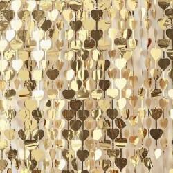 cortina corações ouro 1x2.5m