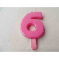Vela N 6 9.5cm Rosa