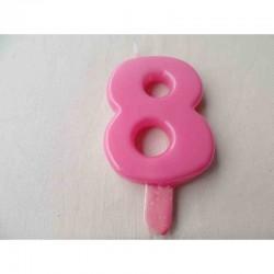 Vela N 8 9.5cm Rosa