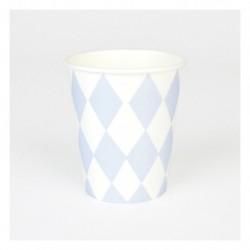 8 copos Light Blue Diamonds