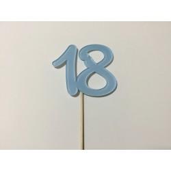 Numero 18 acrilico - azul