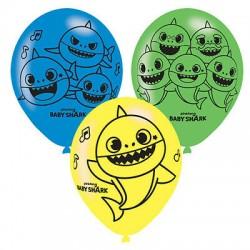 6 balões de latex Baby Shark