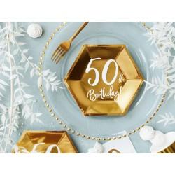 6 Pratos ouro 50th birthday...